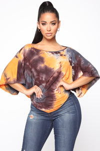 Day Dream Tie Dye Top - Orange/combo Angle 1