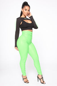 Ride Or Die Chick Ruched Leggings - Neon Green