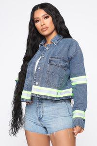 Take Caution Denim Jacket - Medium Wash