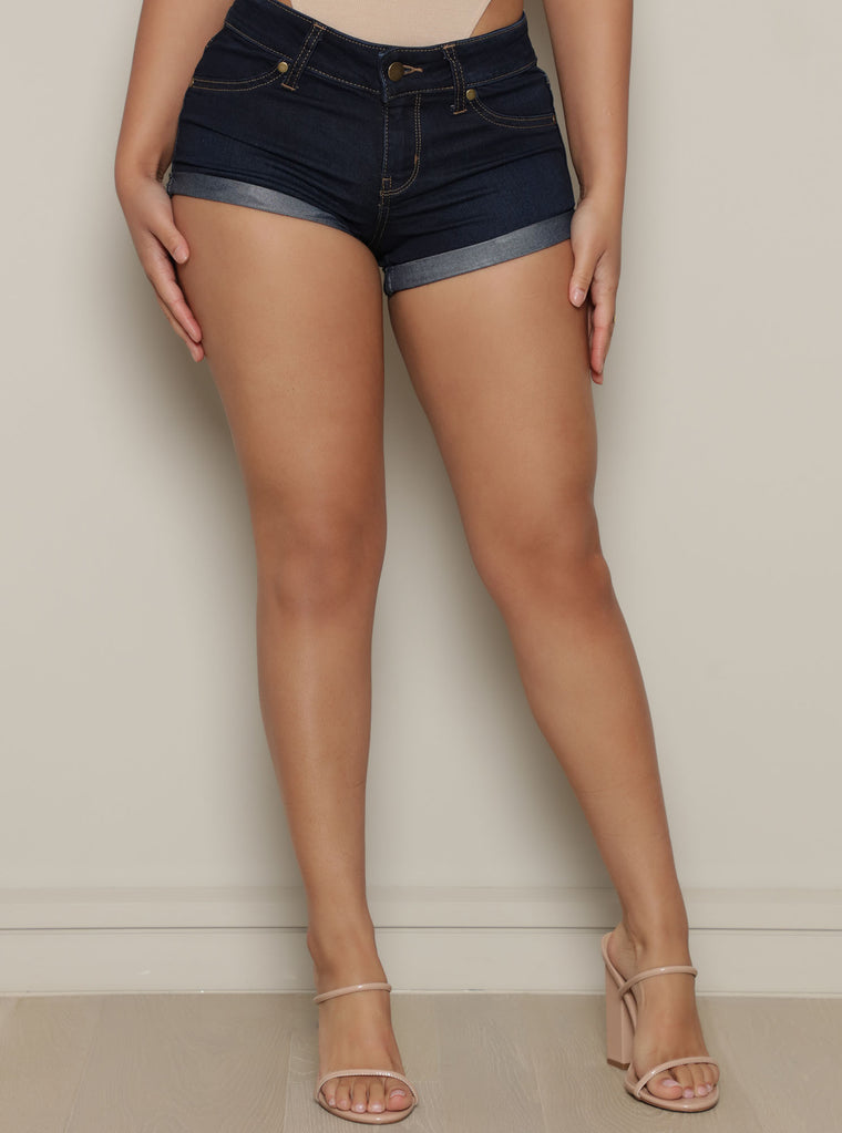 Juicy Cuffed Booty Short - Dark Denim