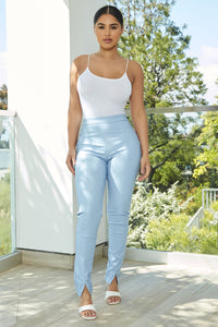 Your Daily Dose Of Faux Leather Pants - Blue Angle 2