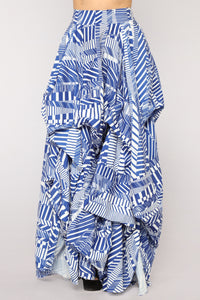 Alana Abstract Print Maxi Skirt - Blue Pattern