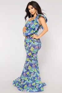 Virgin Islands One Shoulder Dress - Blue Multi