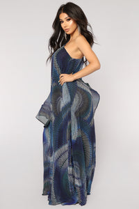 Caribbean Night Maxi Dress - Blue Multi
