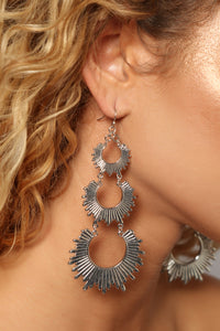 Sun Burst Earrings - Gunmetal