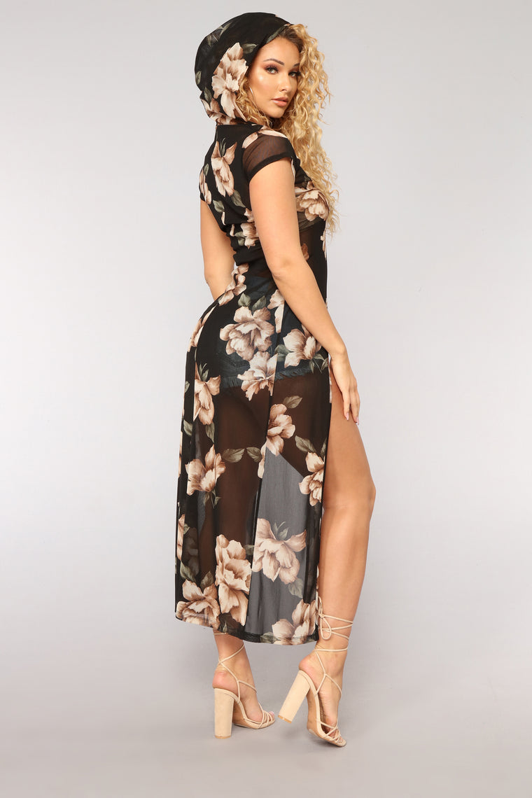 Forever Blooming Maxi Top - Black/Combo