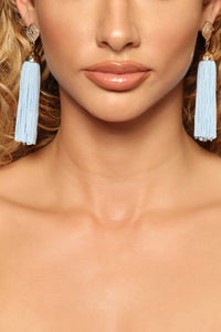Sandra Tassel Earrings - Blue Angle 1