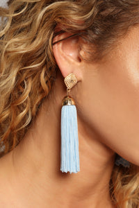 Sandra Tassel Earrings - Blue Angle 2