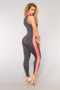 Take The Wheel Colorblock Jumpsuit - Grey/Pink