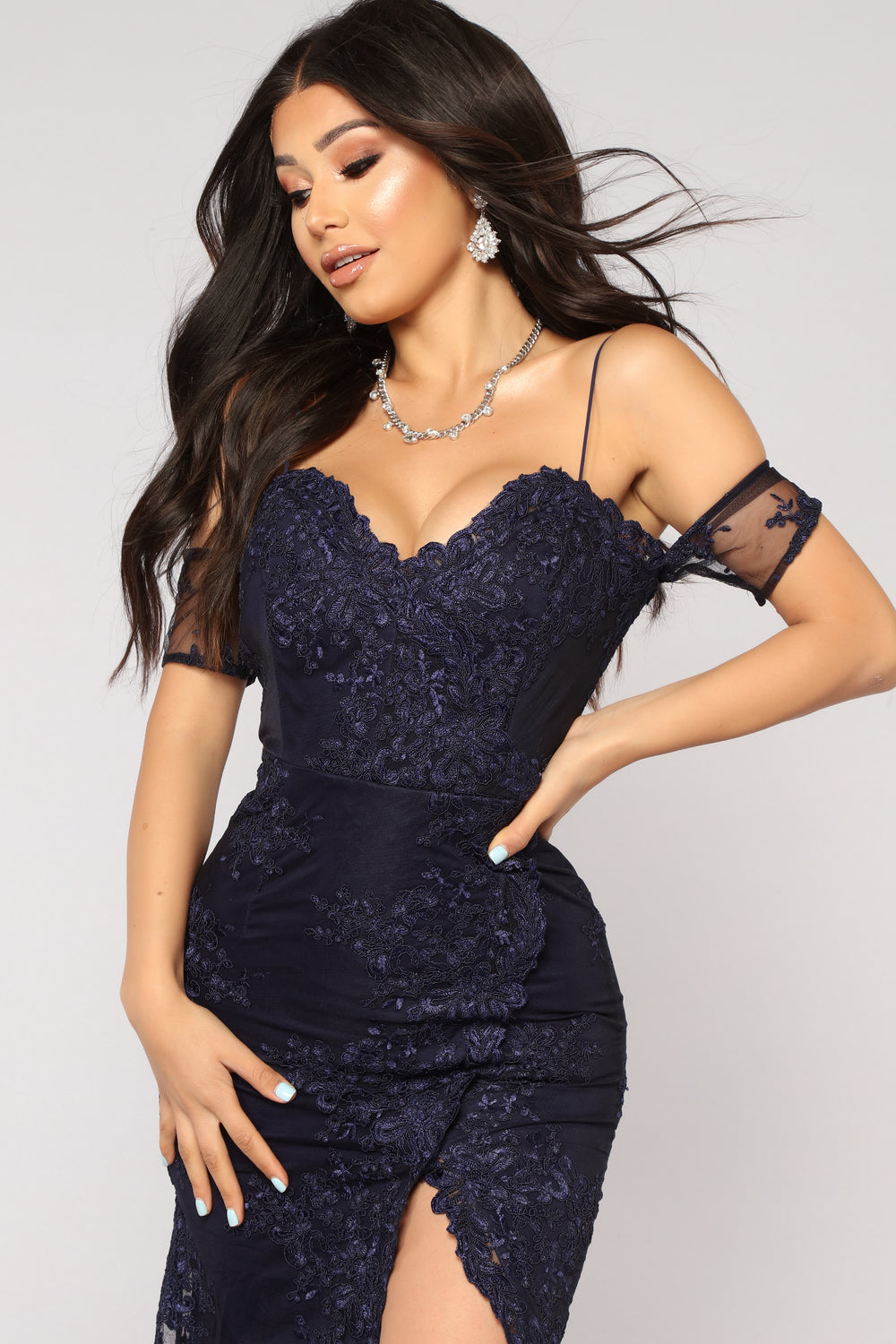 Evening In Roma Embroidered Dress - Navy