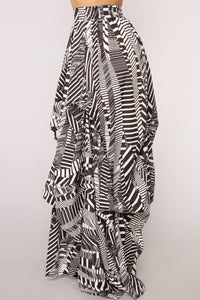 Alana Abstract Print Maxi Skirt - Black Pattern