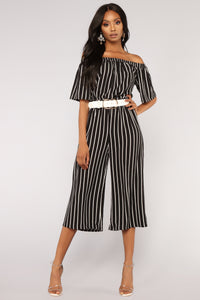 Salt Water Stripe Jumpsuit - Black/White