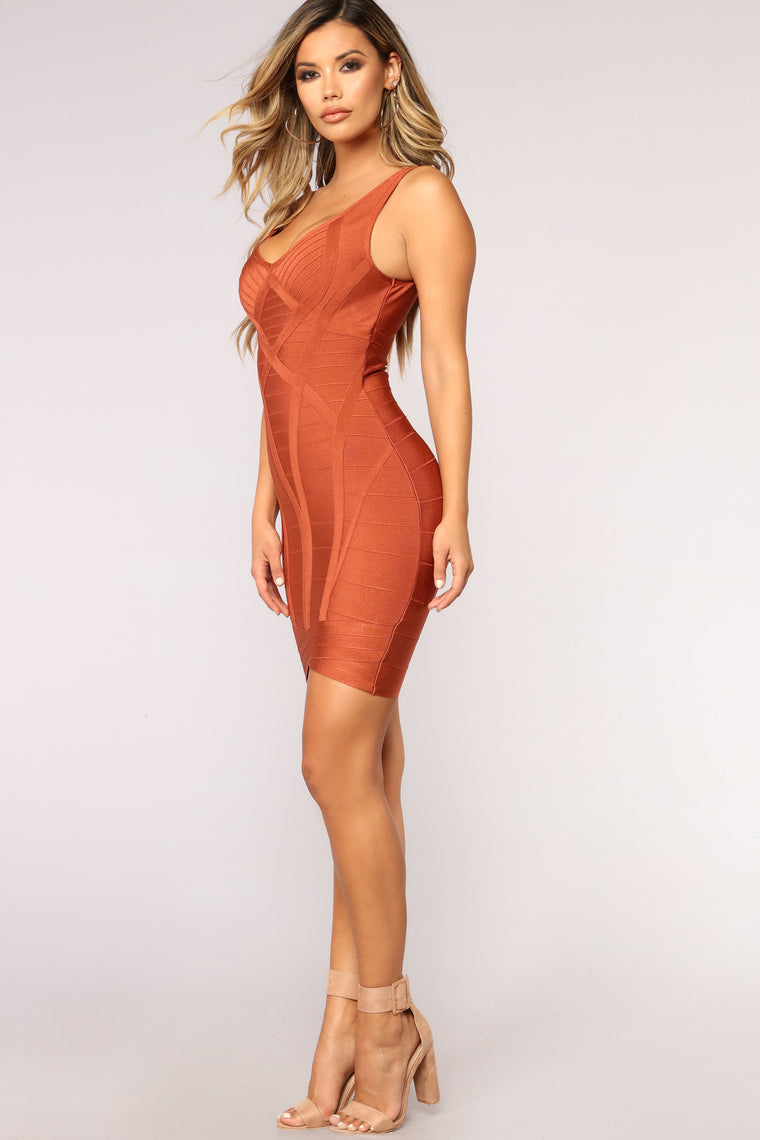 Show Me What You Want Bandage Dress - Rust