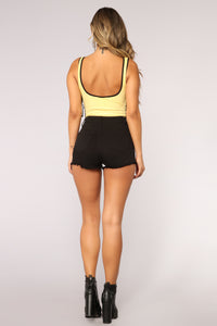 Lacy Lace Up Ribbed Bodysuit - Yellow Angle 6