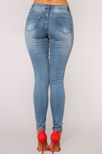 Stop And Watch Distressed Jeans - Medium Blue Wash