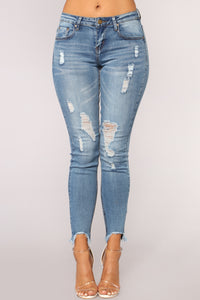 Work For My Love Distressed Jeans - Medium Blue Wash