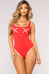 So Over Dramatic Bodysuit - Red
