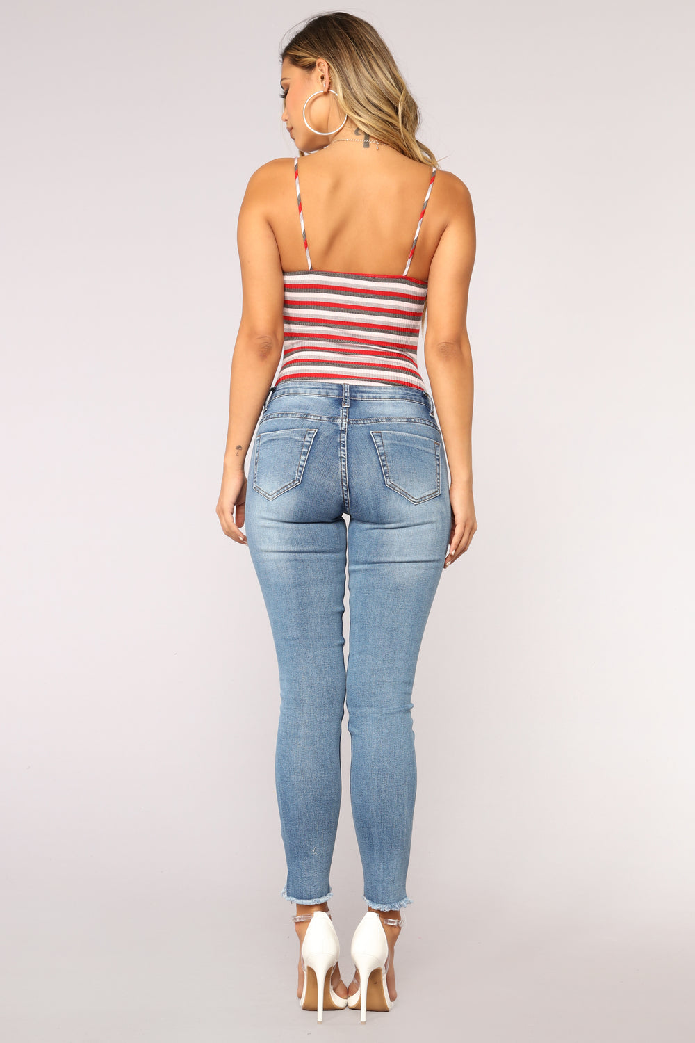 Knot Interested Striped Bodysuit - Grey Combo