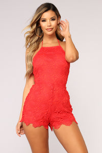 Love Horoscope Lace Romper - Red