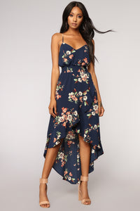 Park View Floral Dress - Navy