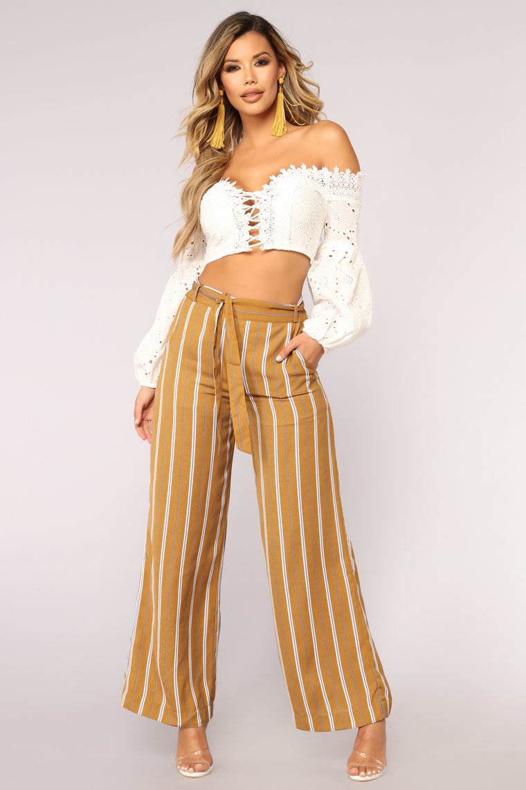 Line Me Up Striped Pants - Mustard