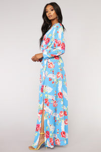 Feathers And Florals Maxi Dress - Blue