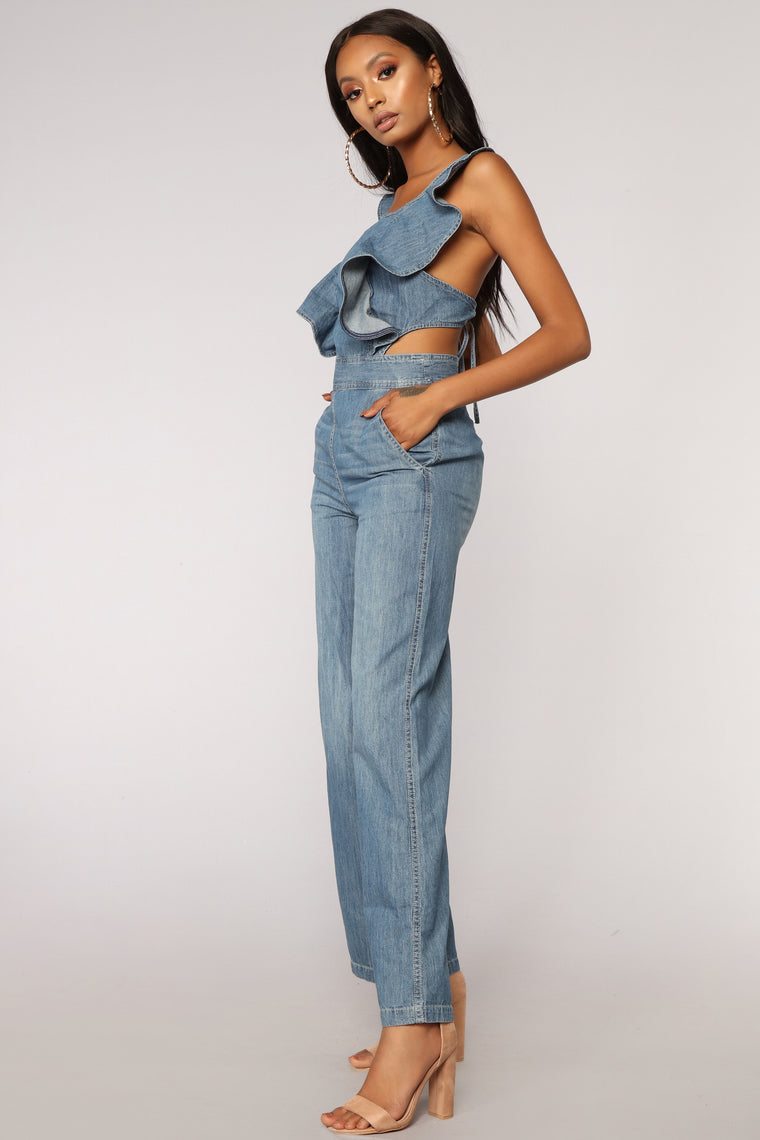 Love Train Denim Jumpsuit - Medium Wash