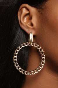 Guess Who's Knocking Hoop Earrings - Gold
