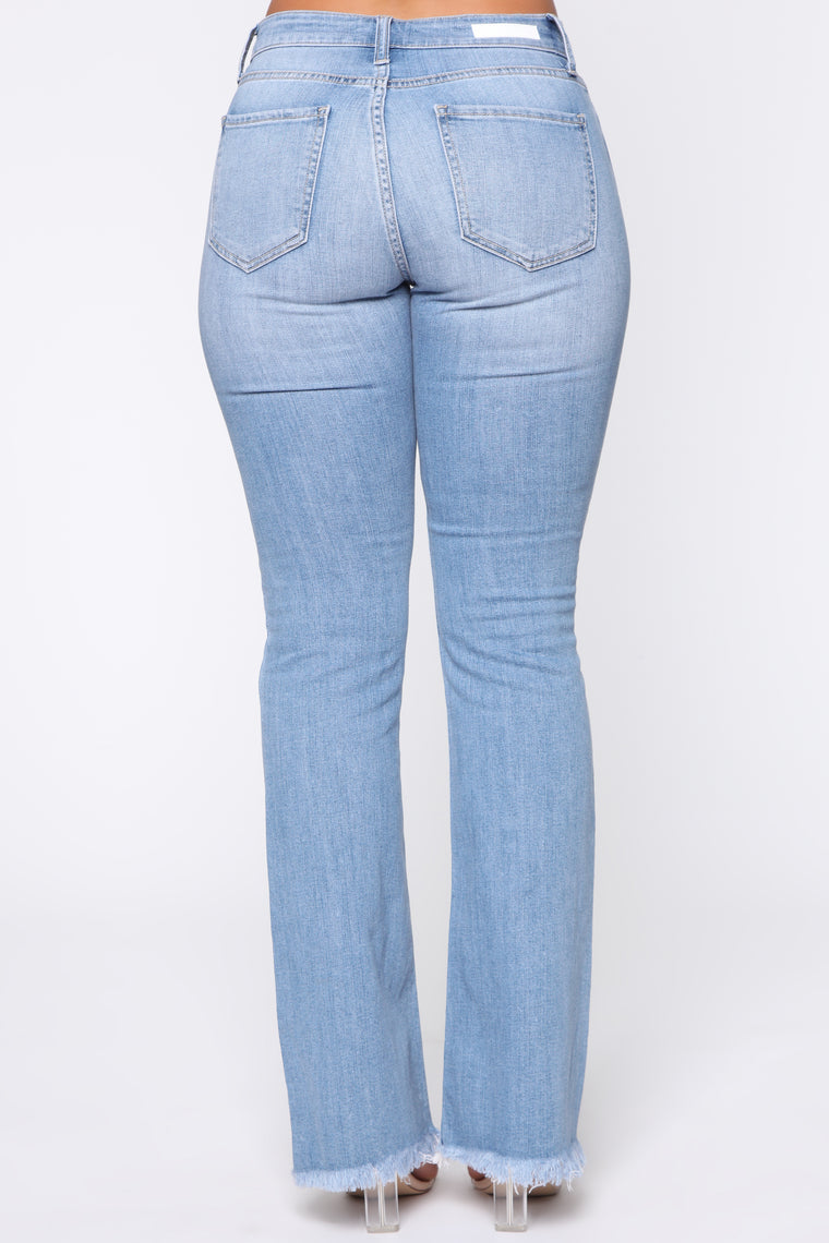 Girl Is On Fire Flare Jeans - Medium Blue Wash