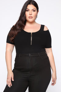 Best Part Of Me Cold Shoulder Top - Black