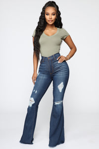 She Owning It Flare Jeans - Dark Denim