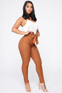 Knot Your Girl Pants - Brown Angle 3
