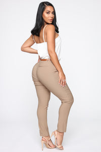 Girl You Better Work Pants - Khaki Angle 5