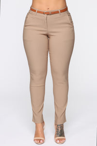 Girl You Better Work Pants - Khaki Angle 2