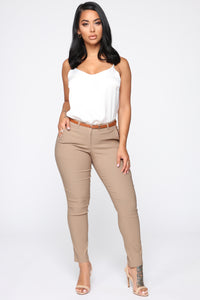 Girl You Better Work Pants - Khaki Angle 1