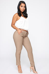 Girl You Better Work Pants - Khaki Angle 3