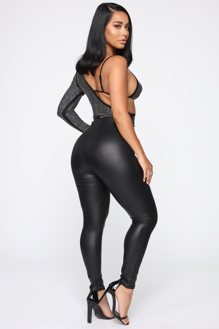 All Eyes On Me Bodysuit - Black