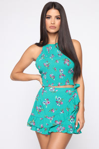 Poppy Floral Skort Set - Green/Combo