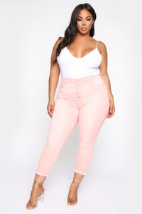 Lay Me Down II Ankle Jeans - Pink