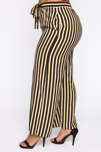 Don't Hold Back Striped Tie Waist Pants - Black