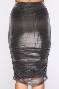 Hot Mesh Express Glitter Midi Skirt - Black