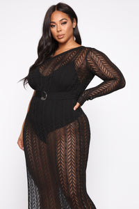 Knit With Love One Shoulder Maxi Dress - Black