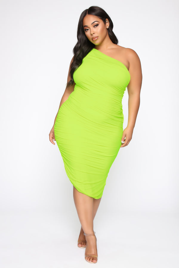 7164c678a5a The Center Of Attention One Shoulder Dress - Neon Yellow