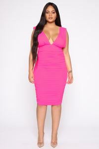 Glow On My Own Ruched Dress - Hot Pink Angle 5
