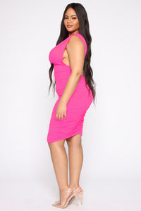Glow On My Own Ruched Dress - Hot Pink Angle 7