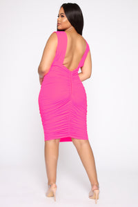 Glow On My Own Ruched Dress - Hot Pink Angle 8