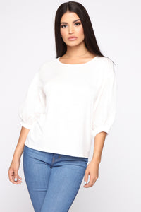 Girly Balloon Sleeve Top - Ivory Angle 1
