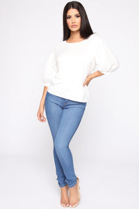 Girly Balloon Sleeve Top - Ivory Angle 2