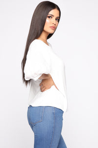 Girly Balloon Sleeve Top - Ivory Angle 3