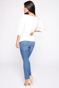 Girly Balloon Sleeve Top - Ivory Angle 5